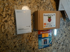 Two Raspberry Pi's in their shipping boxes (Left Element14, Right RS Electronics)