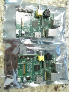 Two Raspberry Pi on their electro-static wrappers.