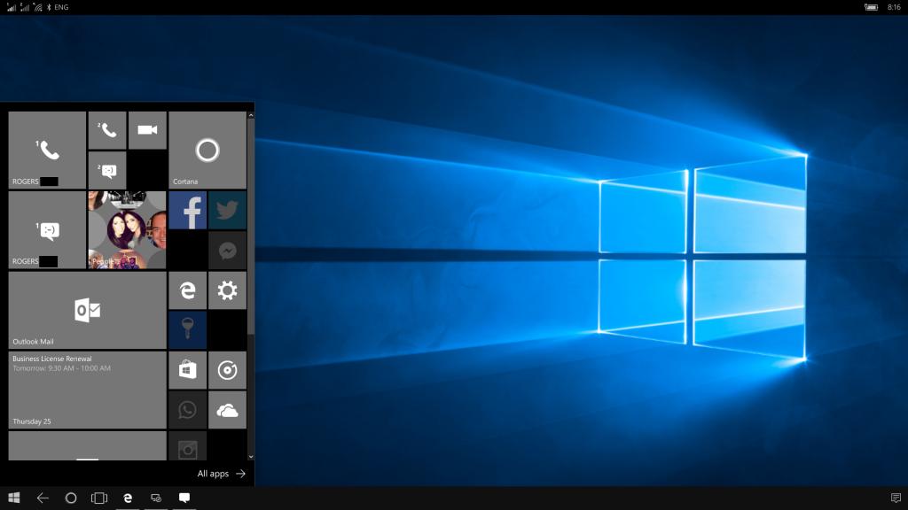 Desktop and Start Menu on Continuum