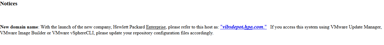 HPE vibsdepot notice