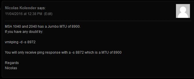 MSA 2040 MTU Comment