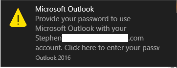 Outlook prompting for credentials (username and password