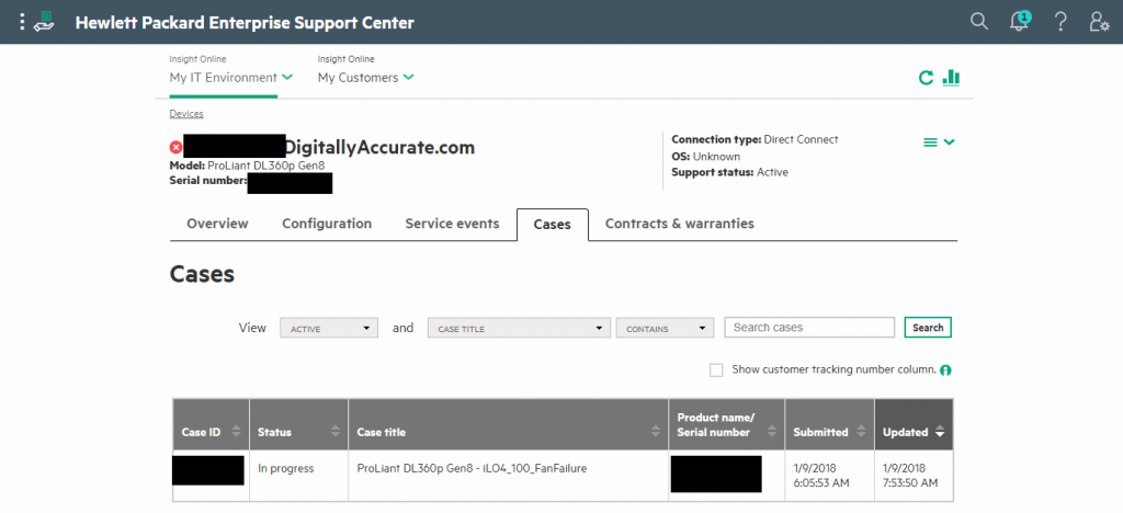 HPe Insight Online Automated Case