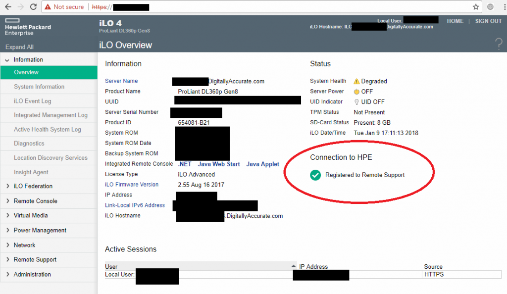 HPe iLo Registered to Remote Support Insight Online