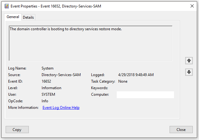 Microsoft Windows Server booting to Safe Mode and Directory