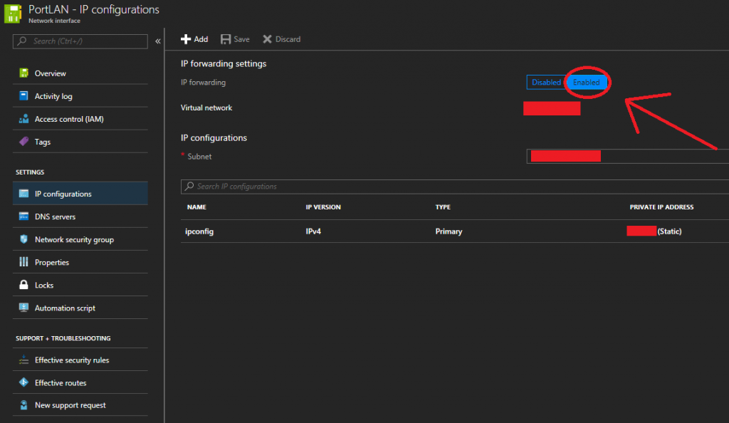 Enable IP Forwarding on Microsoft Azure Network Interface