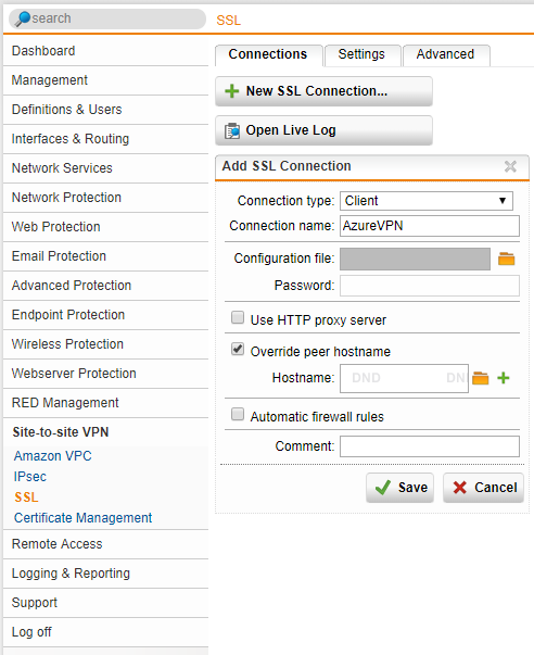 Sophos UTM Create New SSL VPN Connection