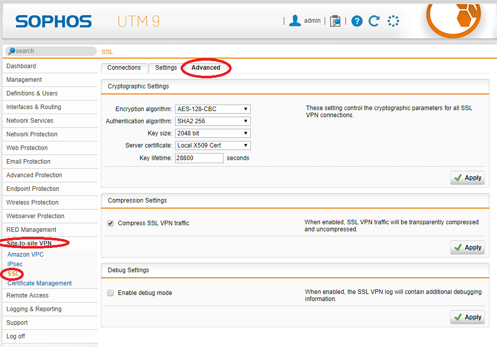 Sophos UTM SSL Site-to-Site VPN Advanced Settings