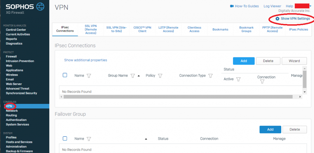 Sophos XG Show VPN Settings