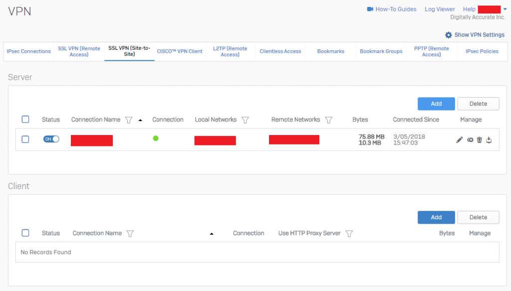Sophos XG SSL VPN (Site-to-Site) Active VPN Status