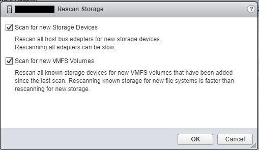 VMware ESXi Host Rescan Storage Adapter Window for VMFS Volume and Devices