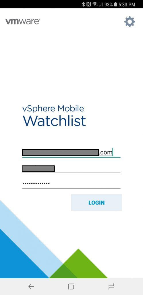 vSphere Mobile Watchlist Login Prompt