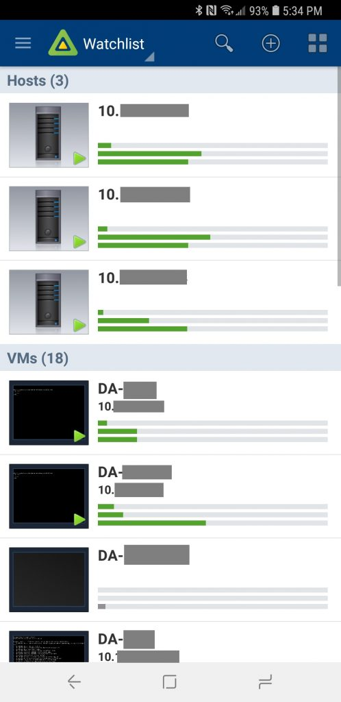 vSphere Mobile Watchlist Hosts and VM list