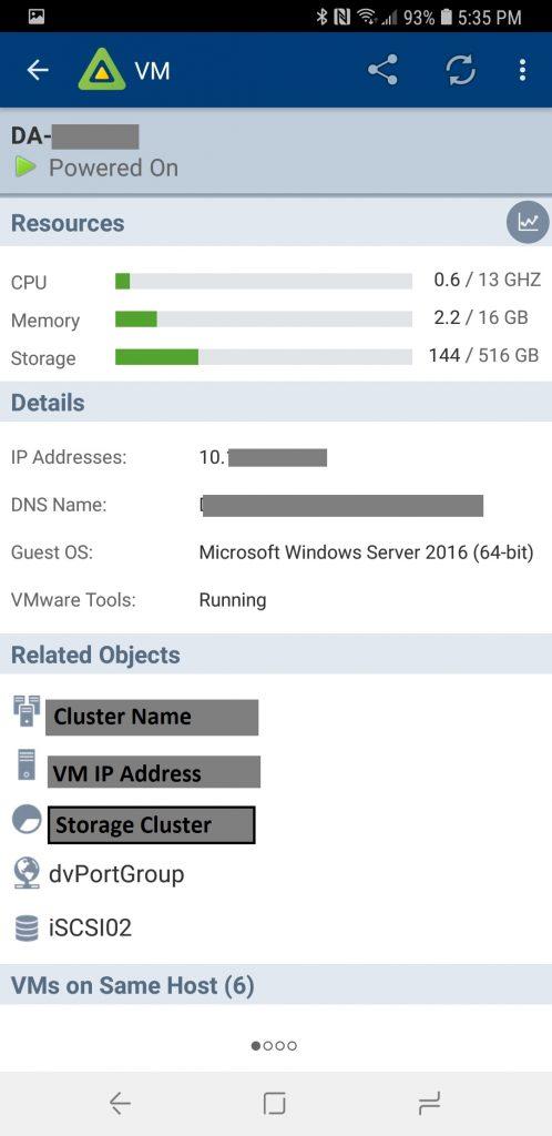 vSphere Mobile Watchlist VM Information