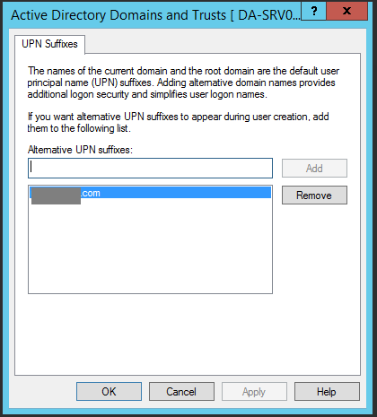Add Alternative UPN suffix