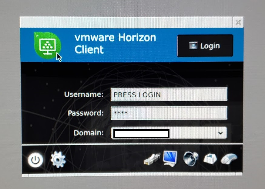 10ZiG Zero Client VMware View Login Dialog Window