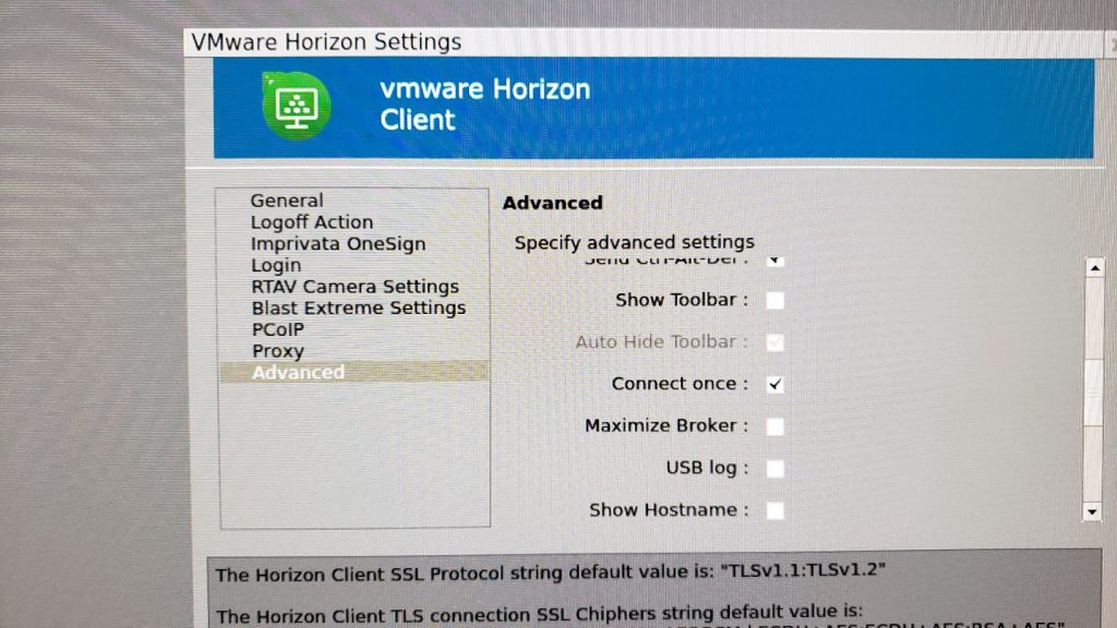 10ZiG Zero Client VMware Horizon Settings Advanced Settings Dialog Window
