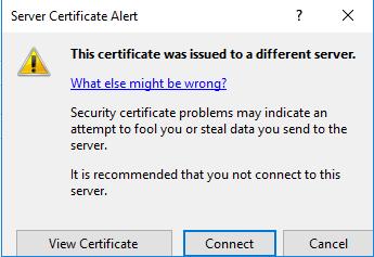 IIS Certificate Warning Dialog