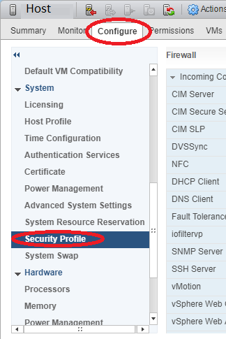 ESXi Host Configuration under Configure Tab in Web Interface