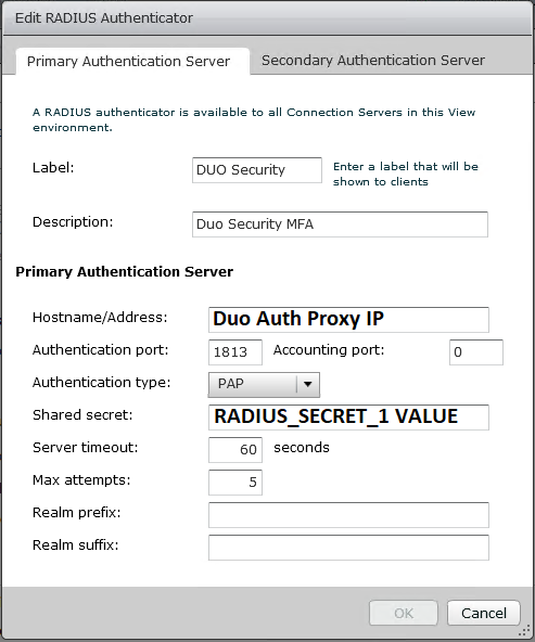 Edit RADIUS Authenticator VMware View Window