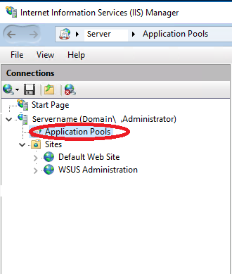 IIS Application Pools Selected