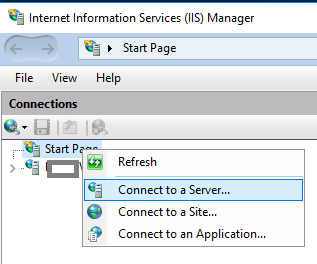 Connect to Remote IIS Server Window