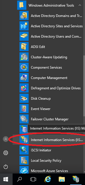 Internet Information (IIS) Services in Start Menu