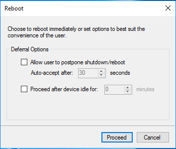 10ZiG Manager Configuration Template Apply Reboot Options Dialog Box