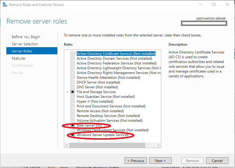 Selecting WSUS and IIS Roles to be Removed