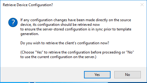 Retrieve Device Configuration Warning Dialog Window
