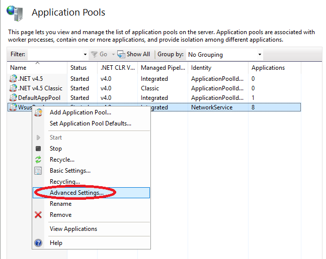 WsusPool Application Pool Selected with Right-Click