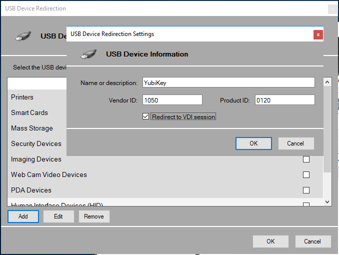 10ZiG Manager Configuration USB Redirection Settings Window and Add Window Selected