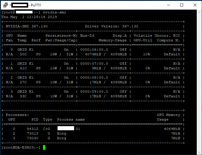 nvidia-smi command on ESXi host showing GRID K1 information, vGPU information, temperatures, and power usage