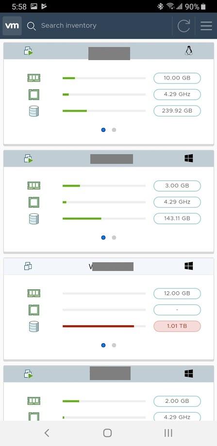 VMware vSphere Mobile Client VM List Screen