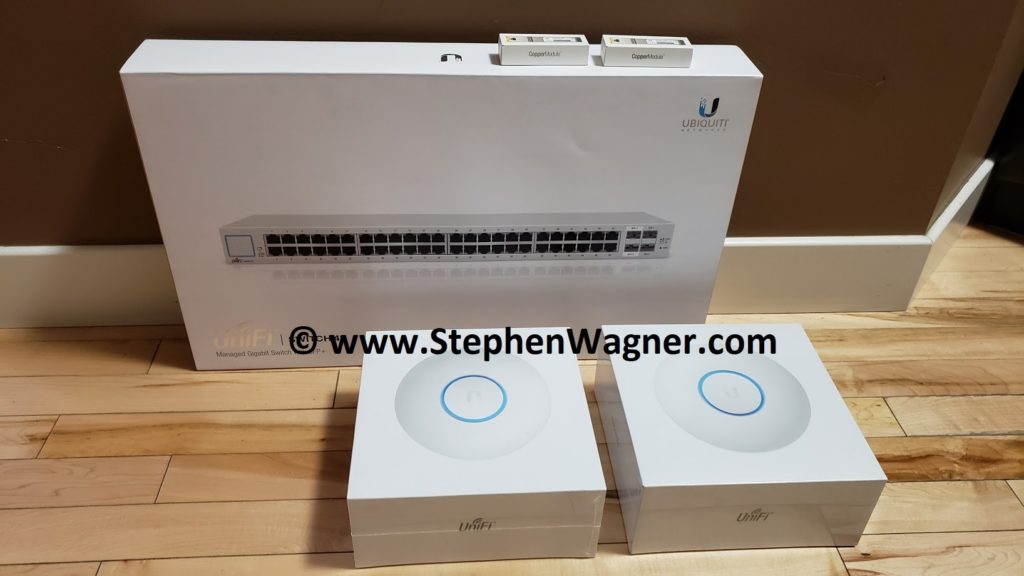 Ubiquiti UniFi US-48 Switch, UniFi nanoHD Wireless AP, 2 x UF-RJ45-10G SFP+ Modules