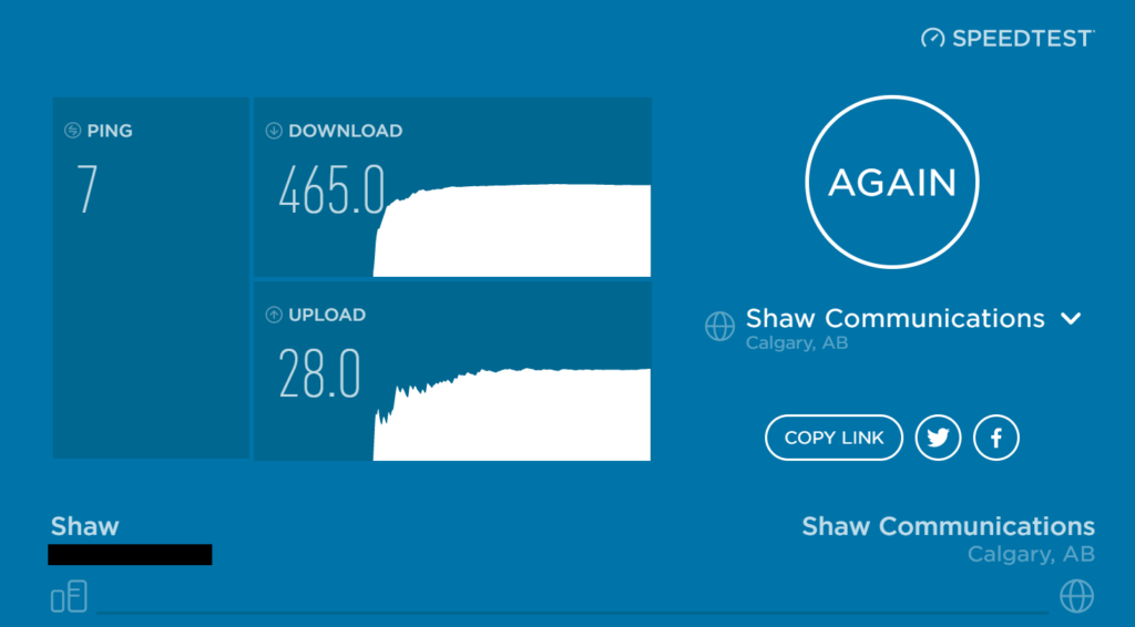 SpeedTest Results on Ubiquiti