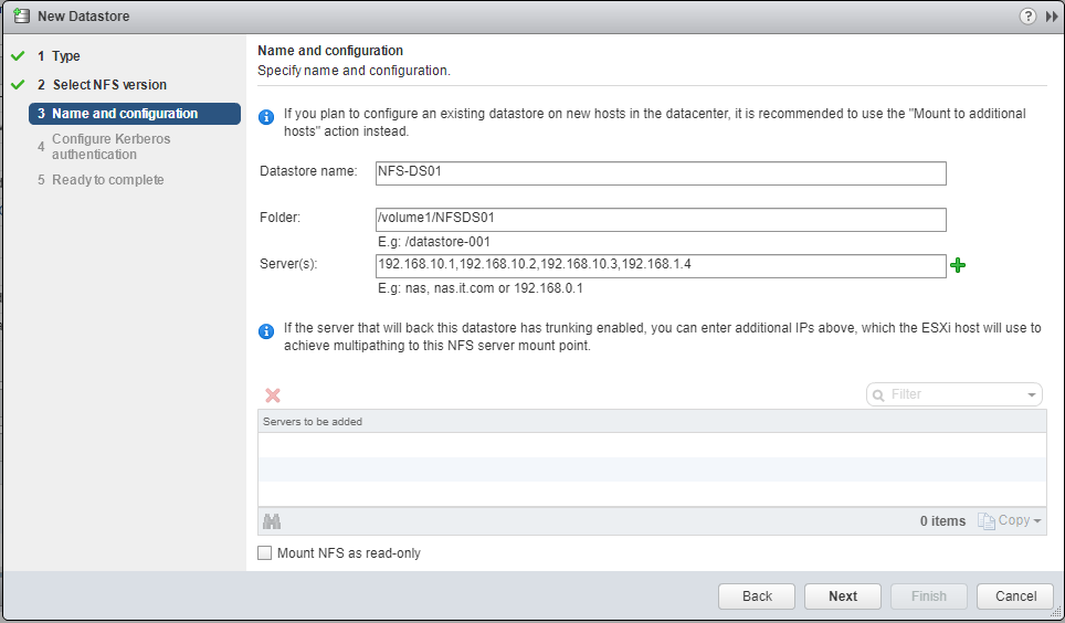 New NFS Datastore details and configuration on ESXi dialog box