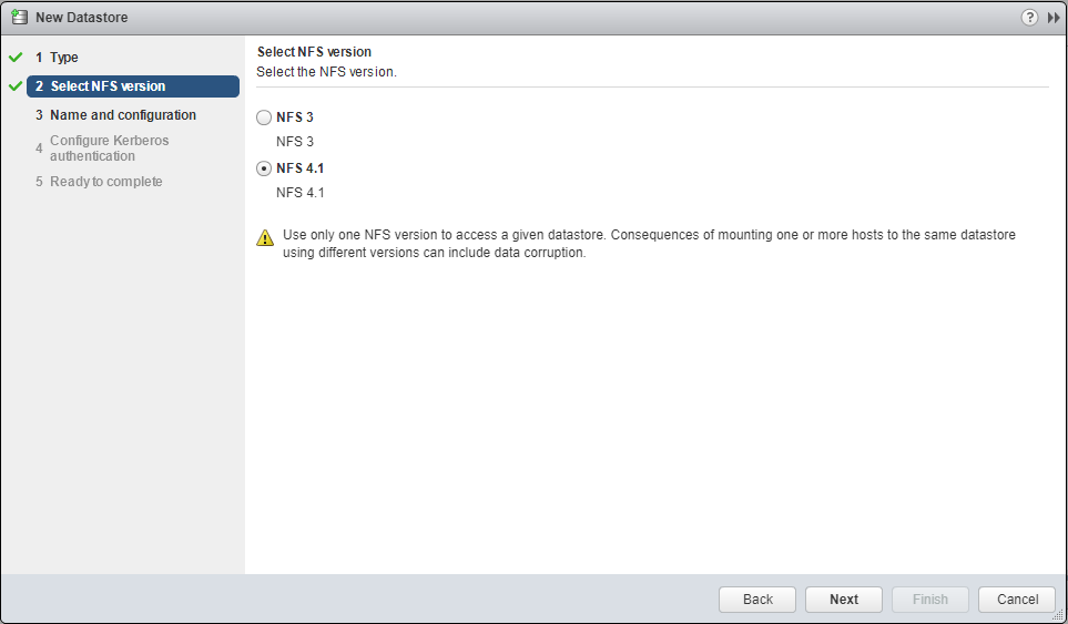 Selecting the NFS version on the Add Datastore Dialog box on ESXi