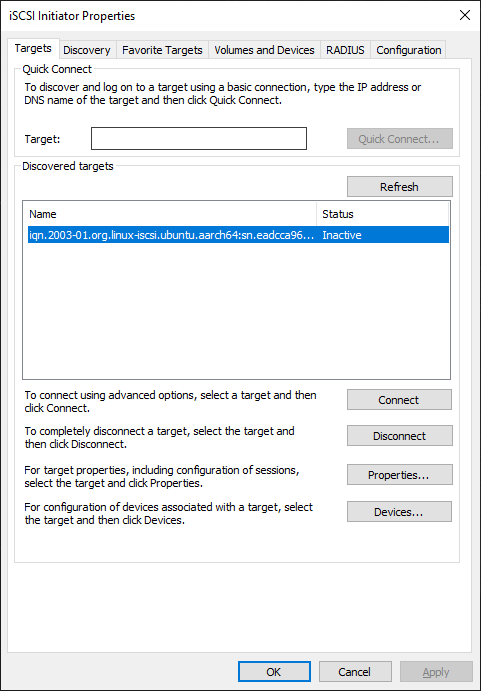 The targets list on Windows iSCSI Software Initiator