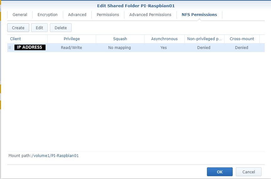 Screenshot of NFS Shared Folder Permissions and Mount Point on Synology NAS