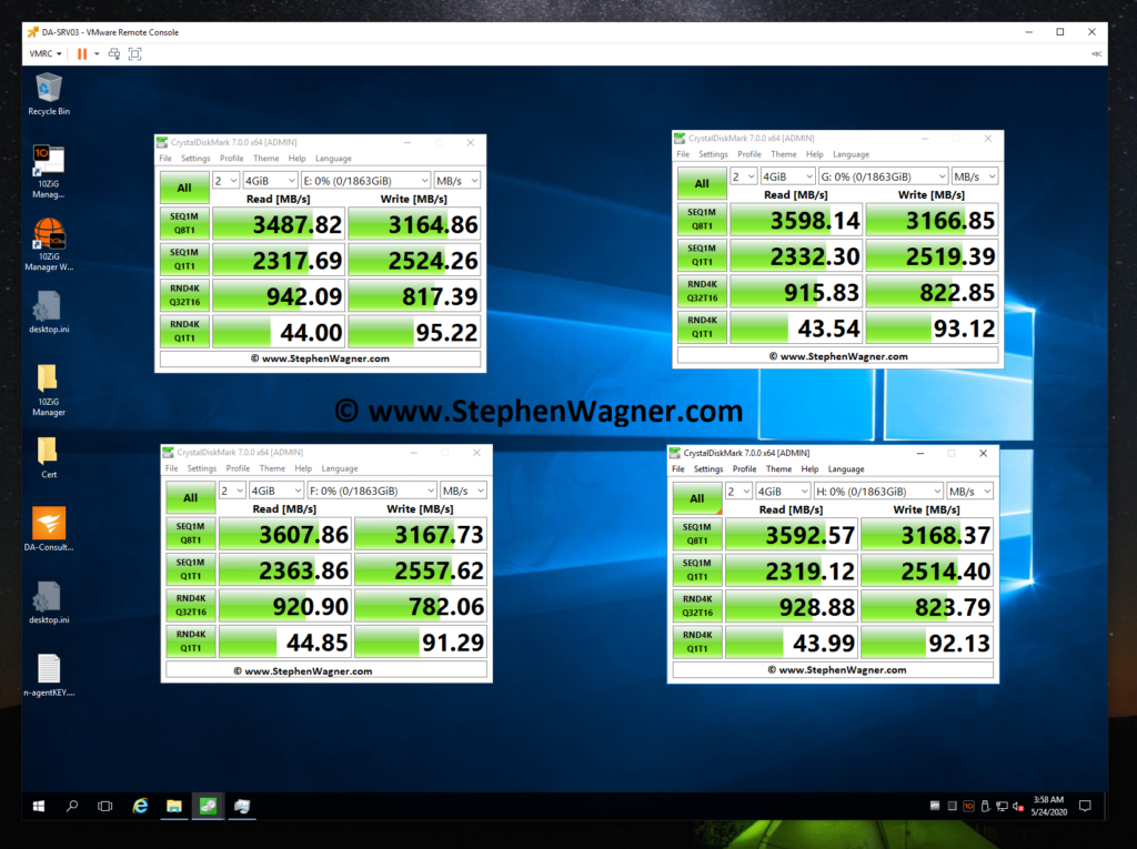 Screenshot of CrystalDiskMark testing an IOCREST IO-PEX40152 and Sabrent Rocket 4 NVME SSD for speed