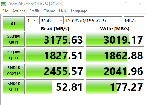 Screenshot of speedtest and benchmark of Sabrent Rocket PCIe 4 2TB SSD