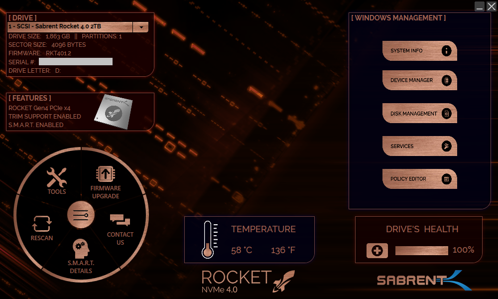 Screenshot of the Sabrent Rocket Control Panel