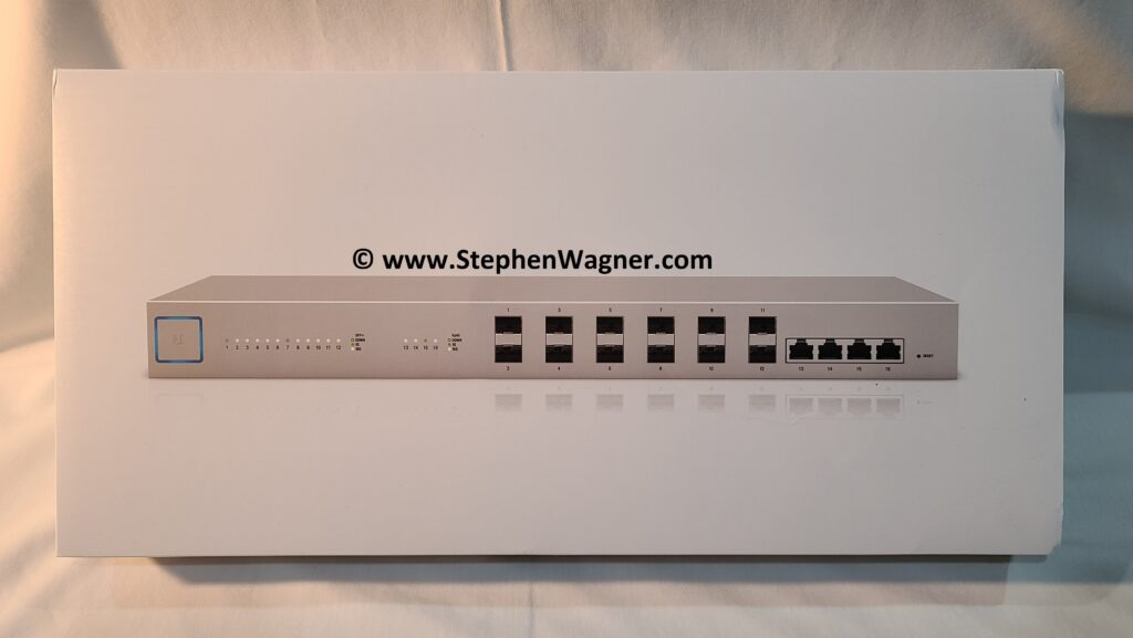 Picture of a Ubiquiti UniFi US-16-XG Switch retail box