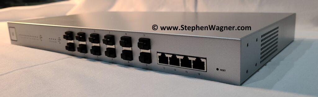 Picture of the Ubiquiti UniFi 16 XG Switch Ports