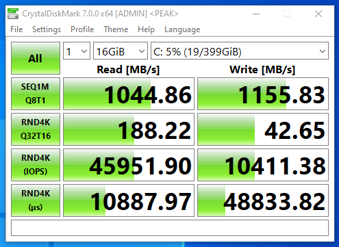 Screenshot of benchmark of CrystalDiskMark on FreeNAS NFS SSD datastore with compression only