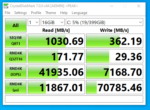 Screenshot of benchmark of CrystalDiskMark on FreeNAS NFS SSD datastore with compression and deduplication