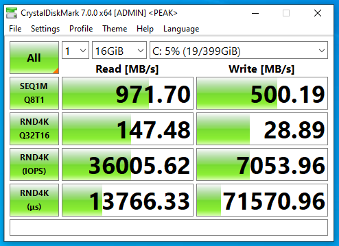 Screenshot of benchmark of CrystalDiskMark on FreeNAS NFS SSD datastore with deduplication only