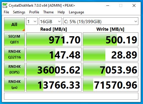 Screenshot of benchmark of CrystalDiskMark on FreeNAS NFS SSD datastore with deduplication only