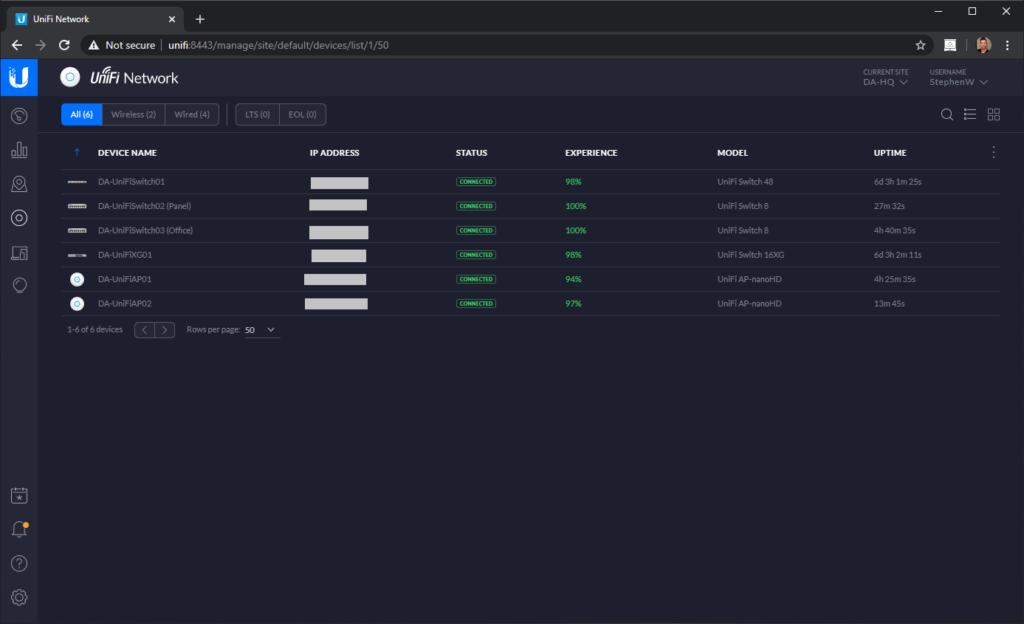 Screenshot of Ubiquiti UniFi US-8 Adopted on UniFi Controller
